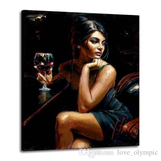 """1 / 5Enmarañado """"Tess IV Red Wine by Fabian Perez"""" Pintado a mano Retrato Arte Pintura al óleo sobre lienzo grueso Decoración de pared Múltiples tamaños Envío gratis"""