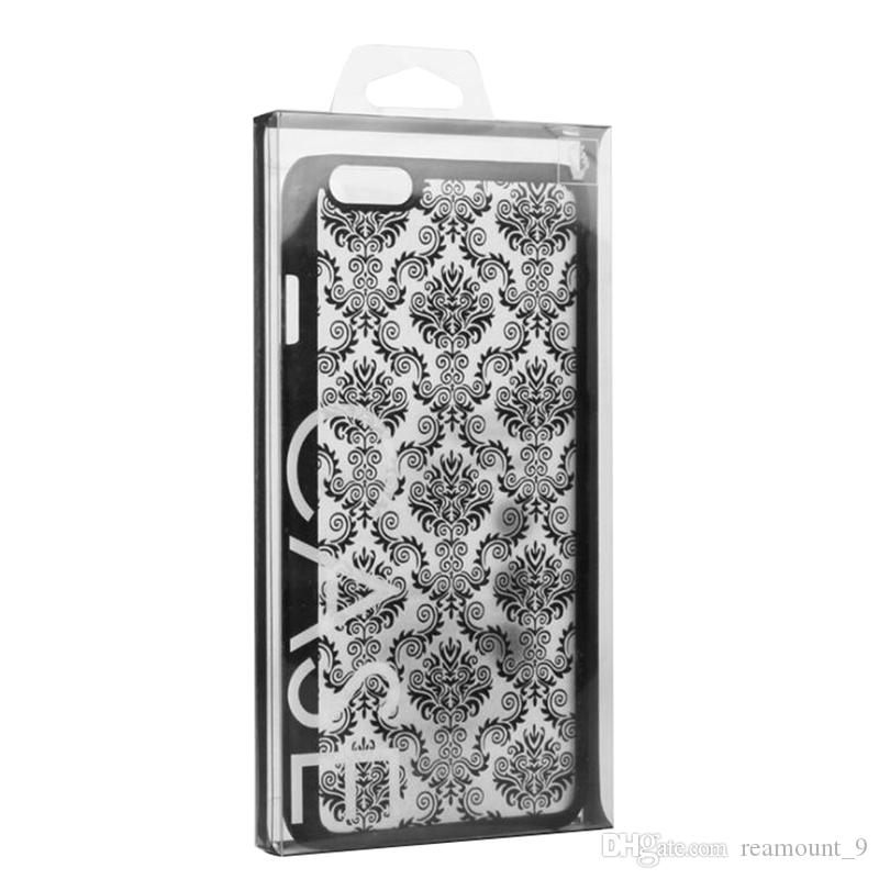 200 pcs Atacado de plástico personalizado Embalagem Box Para Cell Phone Case New design reciclável PVC Voltar tampa do telefone Embalagem Package Box