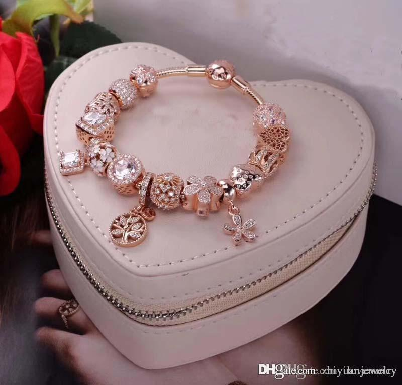 pandora rose gold bracelet with silver charms