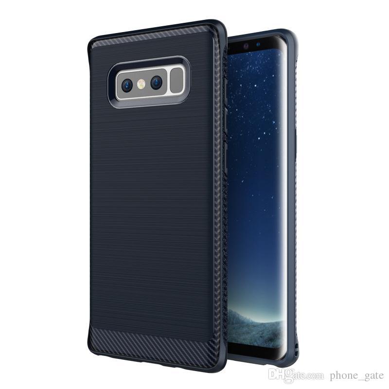 Per Samsung Galaxy Nota 8 Caso Ammortizzatore Slim Armor Fibra di carbonio Soft TPU Drawing Custodia per telefono per Galaxy Note8 Soft Silicone Protector