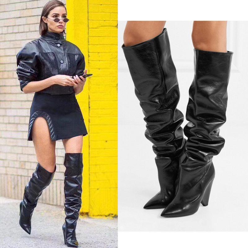 Black Moroder Cuir Toigh-Haute Bottes Femmes Cône Hauts High High Heelight Bottes Short / Long Botas Robe De Mariage Chaussures de mariage avec boîte originale