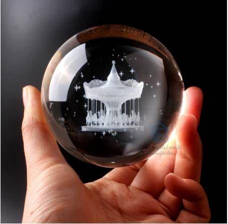 Molti tipi di sfera di vetro 60 millimetri 3D Laser inciso sfera di cristallo Feng Shui globo decorazione della casa accessori in miniatura regali