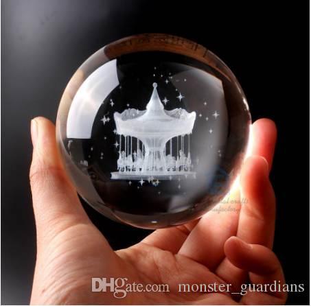 Muchas clases de 60 mm bola de cristal 3D láser grabado bola de cristal Feng Shui Globe decoración del hogar accesorios Miniaturas Regalos