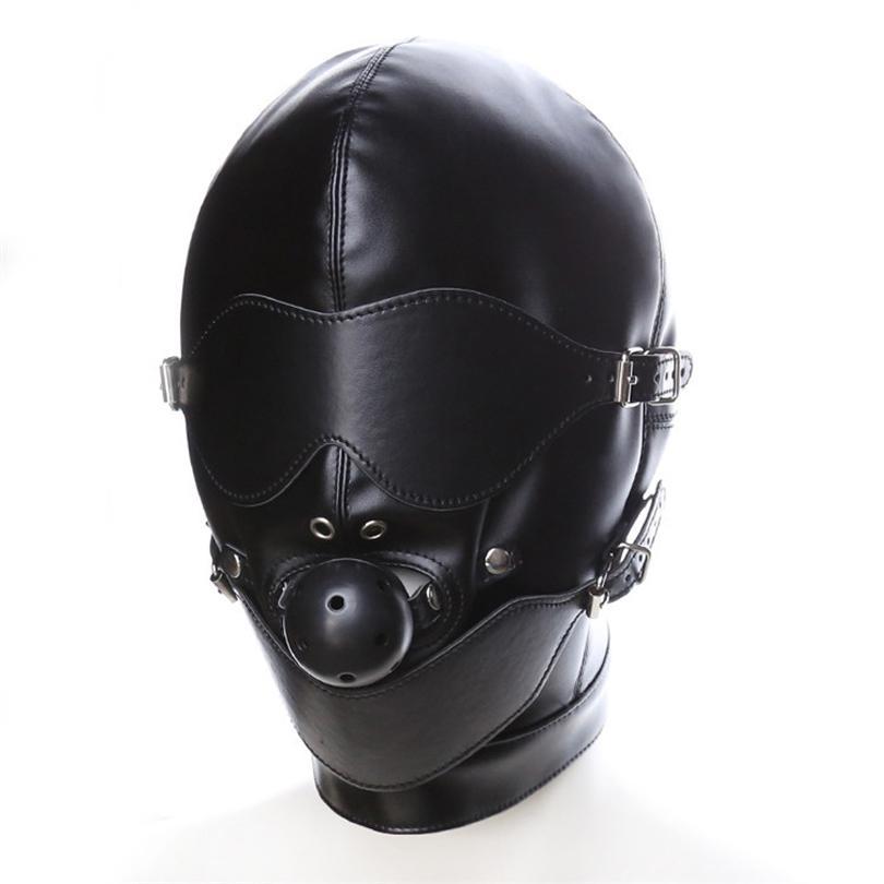 Black Sex Mask Fetish BDSM Leather Mouth Eye Slave Hood Ball Gag Sex Product Toy Bondage Erotic Costume For Couple Men Women Y1893001