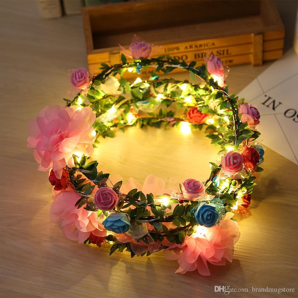Park Düğün Headdress Glow Saç Bandı Hen Parti için Led Çiçek Çelenk Kafa Taç Festivali Çiçek Garland Bohemia Dekor lehine