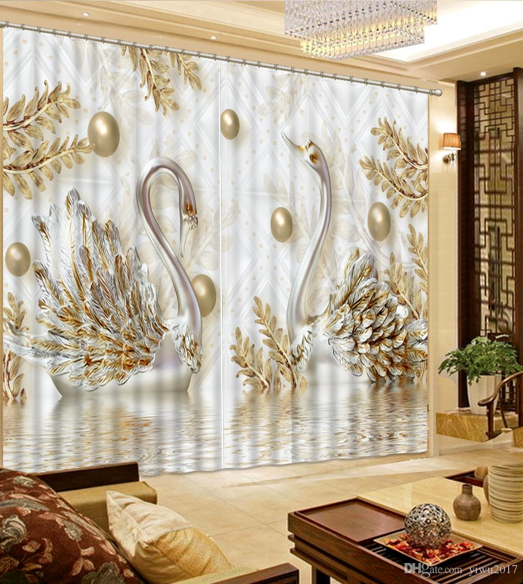2019 European Luxury Curtains Swan Curtains For Girls Room Children Room  Sheer Curtain Living Room High Quality Drapes From Yiwu2017, $200.0 | ...
