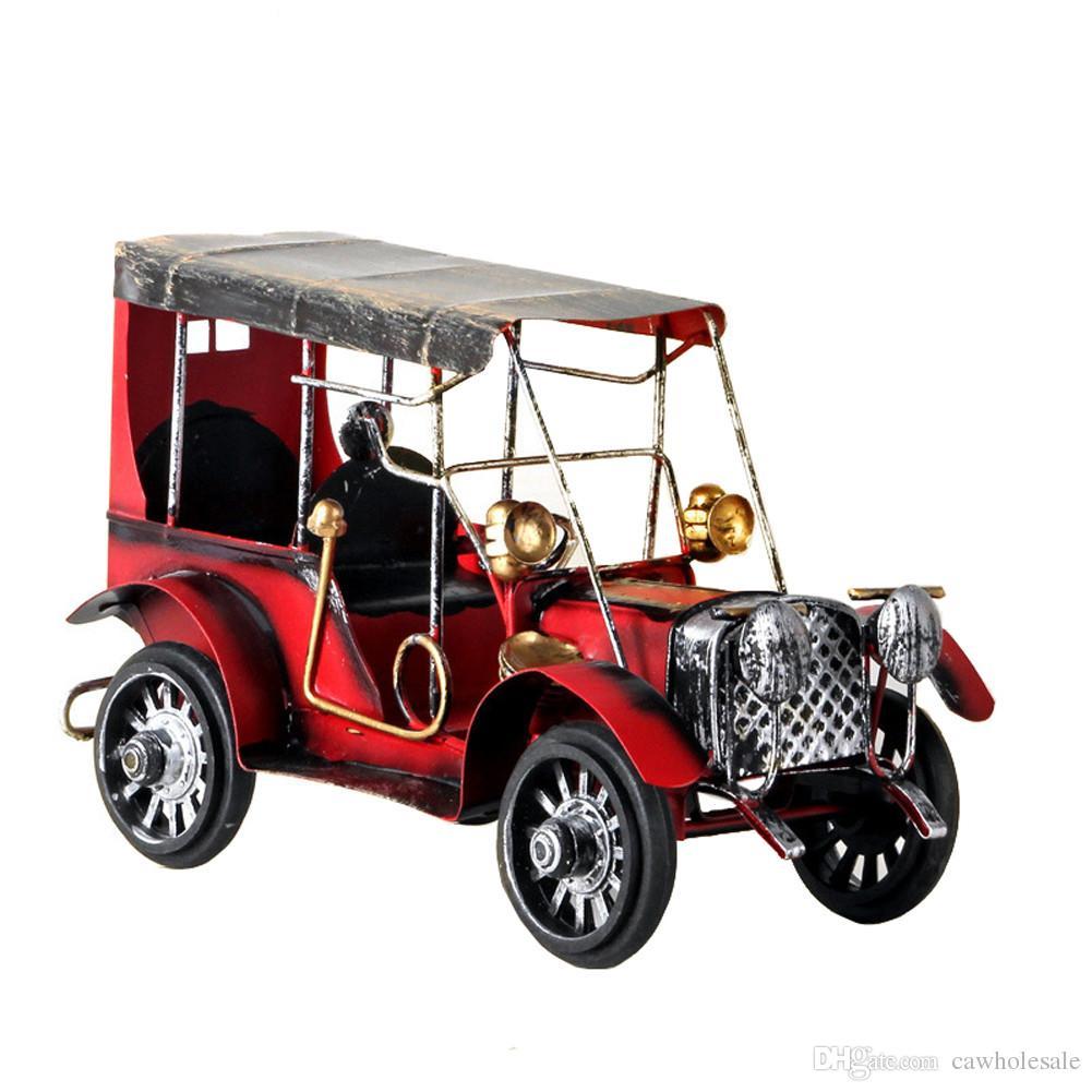 Modelo clásico del coche de la nostalgia retra hecha a mano, ornamento del modelo del coche del hierro del tiempo del estallido para la decoración del Ministerio del Interior (modelo del coche del metal del hierro labrado de la vendimia)