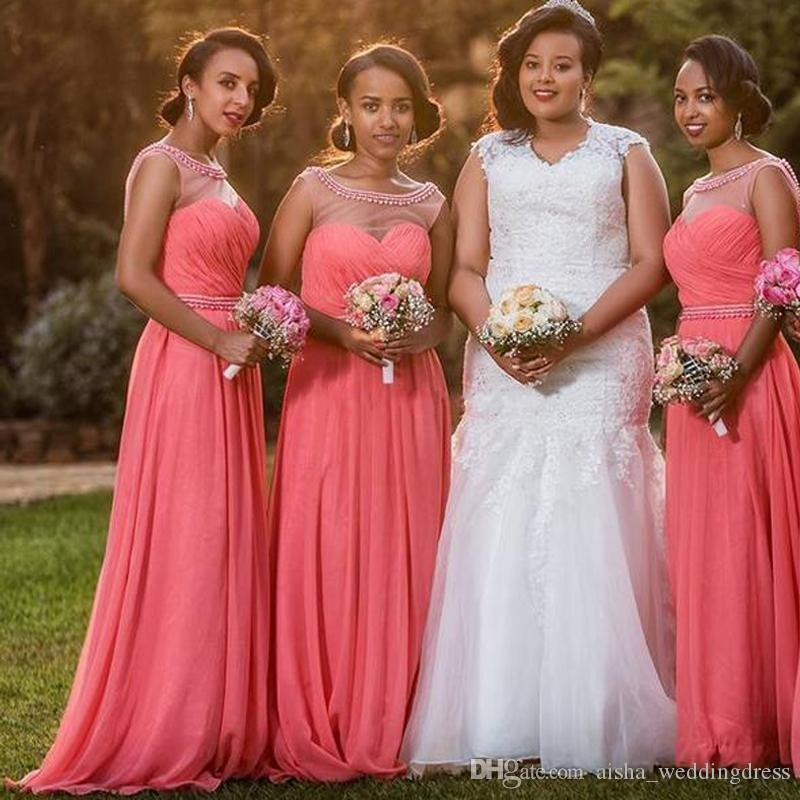 Watermelon Beaded Chiffon Bridesmaid Dresses Sheer Neck Pleated Floor Length African Bridesmaid Gowns Wedding Guest Dress Party Dresses