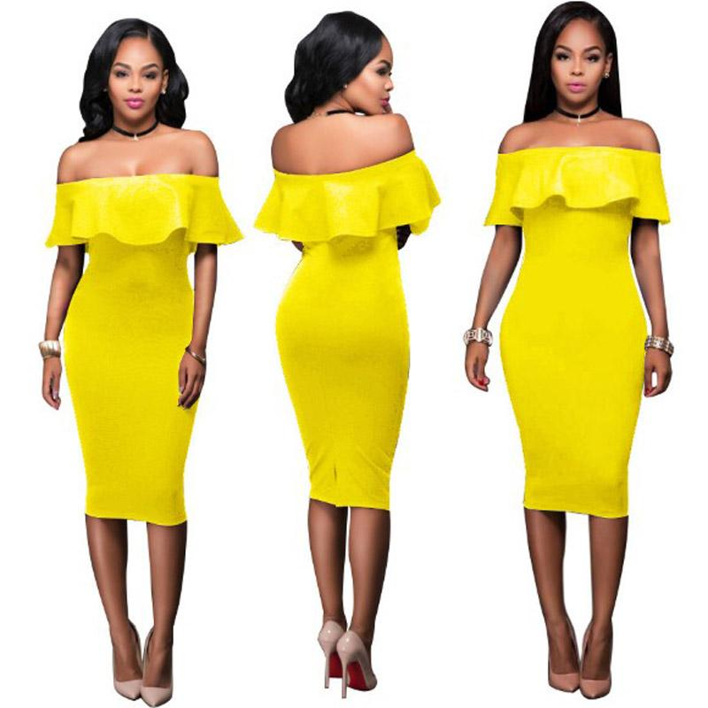 3d8757a8bf Women Off Shoulder Ruffles Dress Sexy Bodycon Club Slash Neck Midi Dress  Sets Party Dress Suit Vestidos