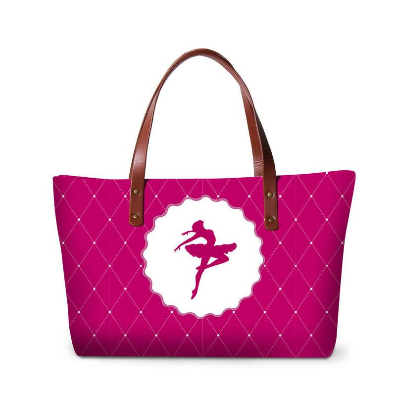 Ballet Girls Shoulder Handbag Large Capacity Tote Bag for Women Green Summer Shoulder Bags Shopping Bag Ladies Casual Beach Bag Patterns