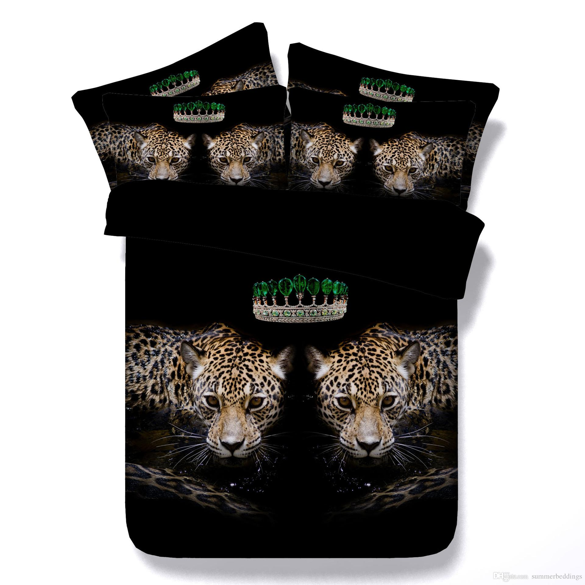 3D Green crown Duvet Cover leopard Bedding Sets black Bedspreads Holiday Quilt Covers Bed Linen Pillow Covers California King for men boys
