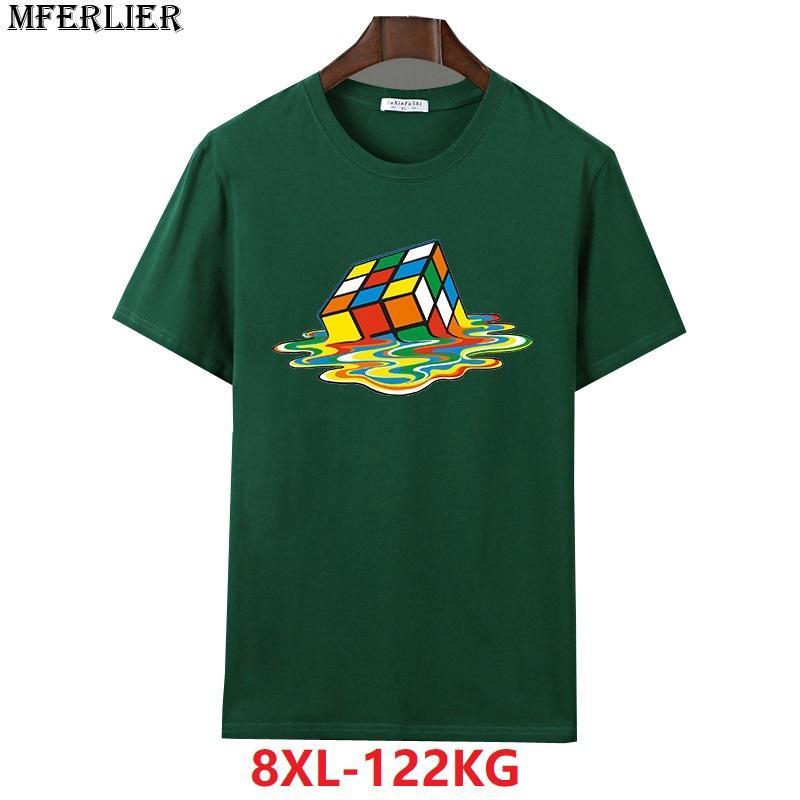 MFERLIER los hombres de verano de manga corta camisetas 6XL tamaño más grande 7XL 8XL geometría grande de algodón camiseta del inconformista azul marino azul gris