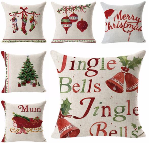 Cuscini Divano Natalizi.Acquista Caso Cuscino Natalizio Babbo Natale Regali Di Natale