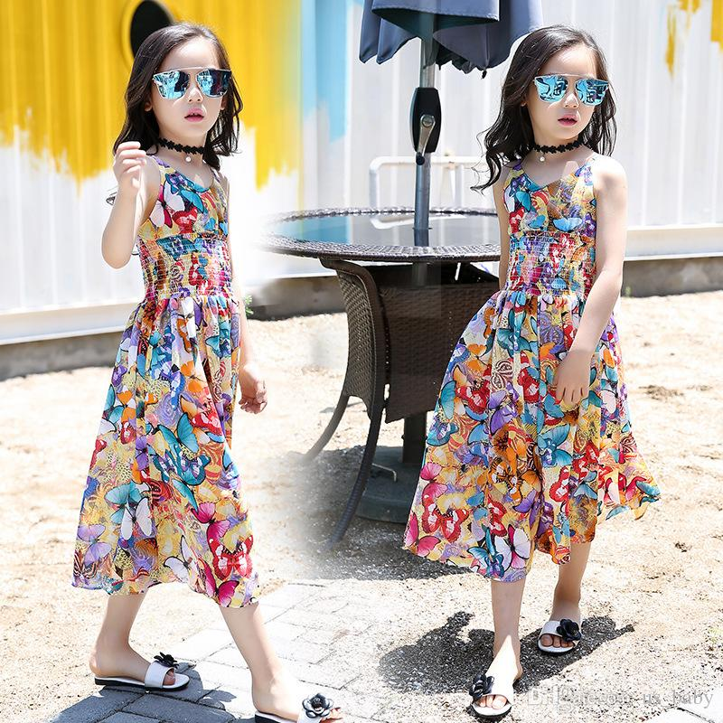Children Bohemia jumpsuit Dress Girls Summer Floral print Dresses Toddler Girls chiffon Slip dress Romper 5size