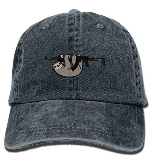 Pattern with Sloth Denim Dad Cap Baseball Hat Adjustable Sun Cap Hip Pop Hat