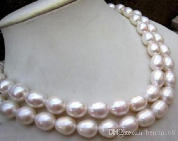12-13мм натуральный белый Южное море барокко жемчужное ожерелье 35 дюймов 14K золотая застежка