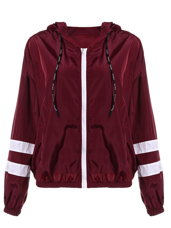 Зан.Стиль весна женщины контраст ленты отделка Zip Up куртка с капюшоном полосатый заплатами рукав девушки пальто верхняя одежда куртка с карманом S18101102