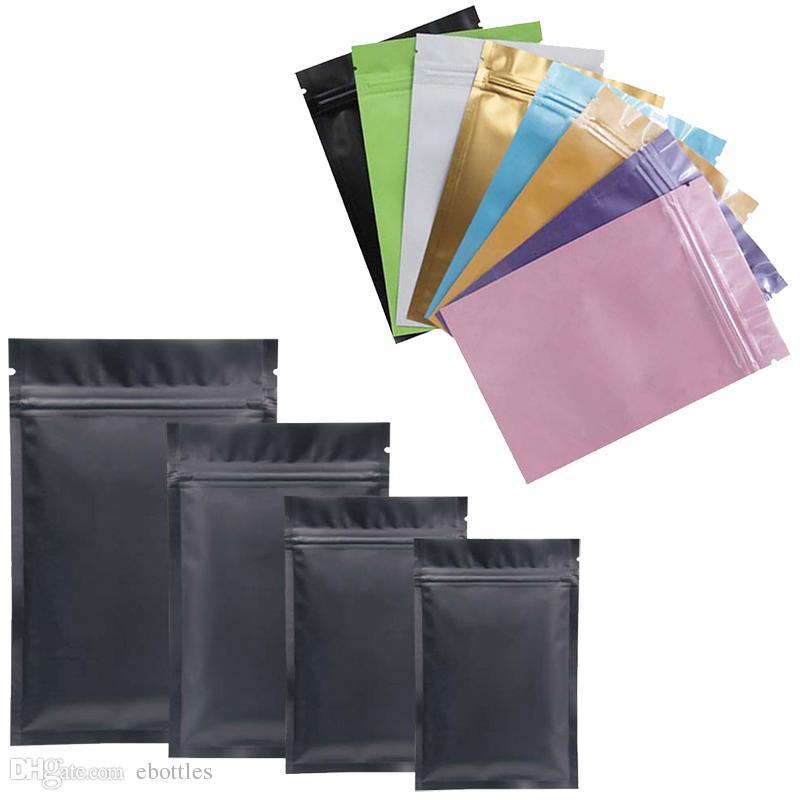 كيس من البلاستيك متعدد الألوان مايلر احباط الألومنيوم سحاب حقيبة على المدى الطويل تخزين المواد الغذائية والمقتنيات حماية اثنين من الجانب الملونة
