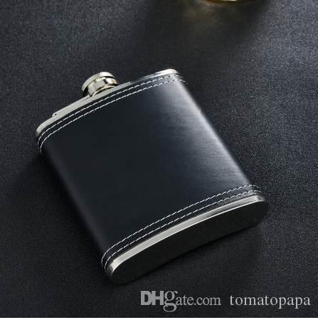 GENNISSY Portátil 7 oz Preto Hip Flask Couro Top Quality Alemanha 304 Garrafas De Aço Inoxidável Mini Como Presente para o Pai ou Amigos