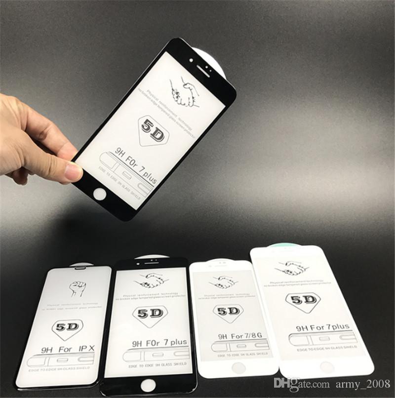 5D Protector de pantalla de cristal temeper de cubierta completa para iphone XR XS MAX 8 8PUS 7 7PLUS 6 6PLUS Para Samsung Galaxy A5 A7 A8 A6 j4 j6 j8 2018