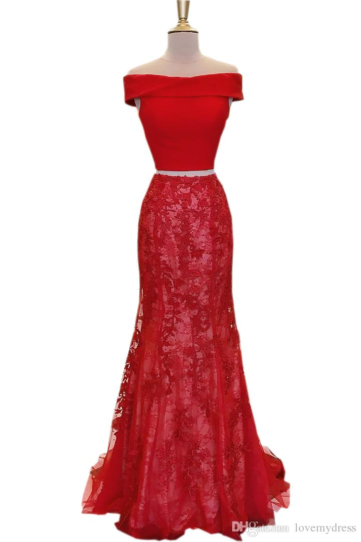 Red Mermaid Evening Long Dresses For Party Girls Off the shoulder with Sleeves Lace Sequins 2 Pieces Prom Formal Pageant Dress Gowns