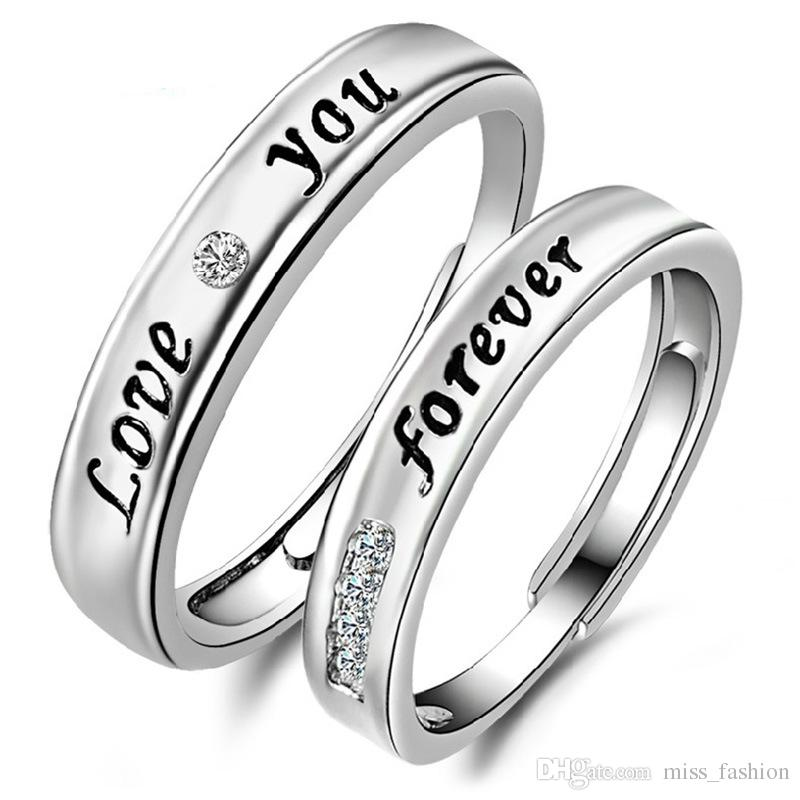 Hot Charms Etnische Ring Bruiloft Carven Love Forever Letter Pair Paar Ringen 925 Sterling Zilveren Sieraden
