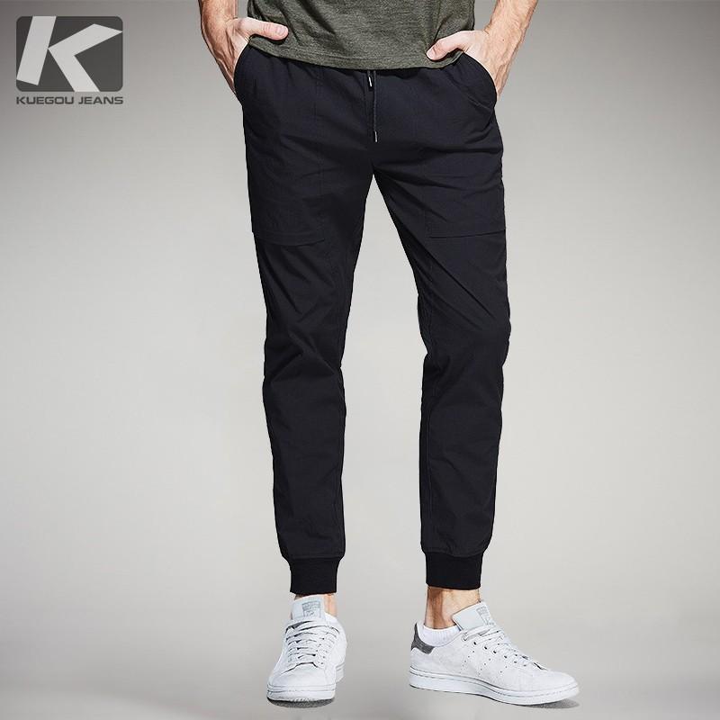 Autunno Pantaloni casual da uomo in cotone nero tinta unita Tasca per uomo Moda Slim Fit 2018 Nuovo abbigliamento maschile pantaloni lunghi dritti 1720
