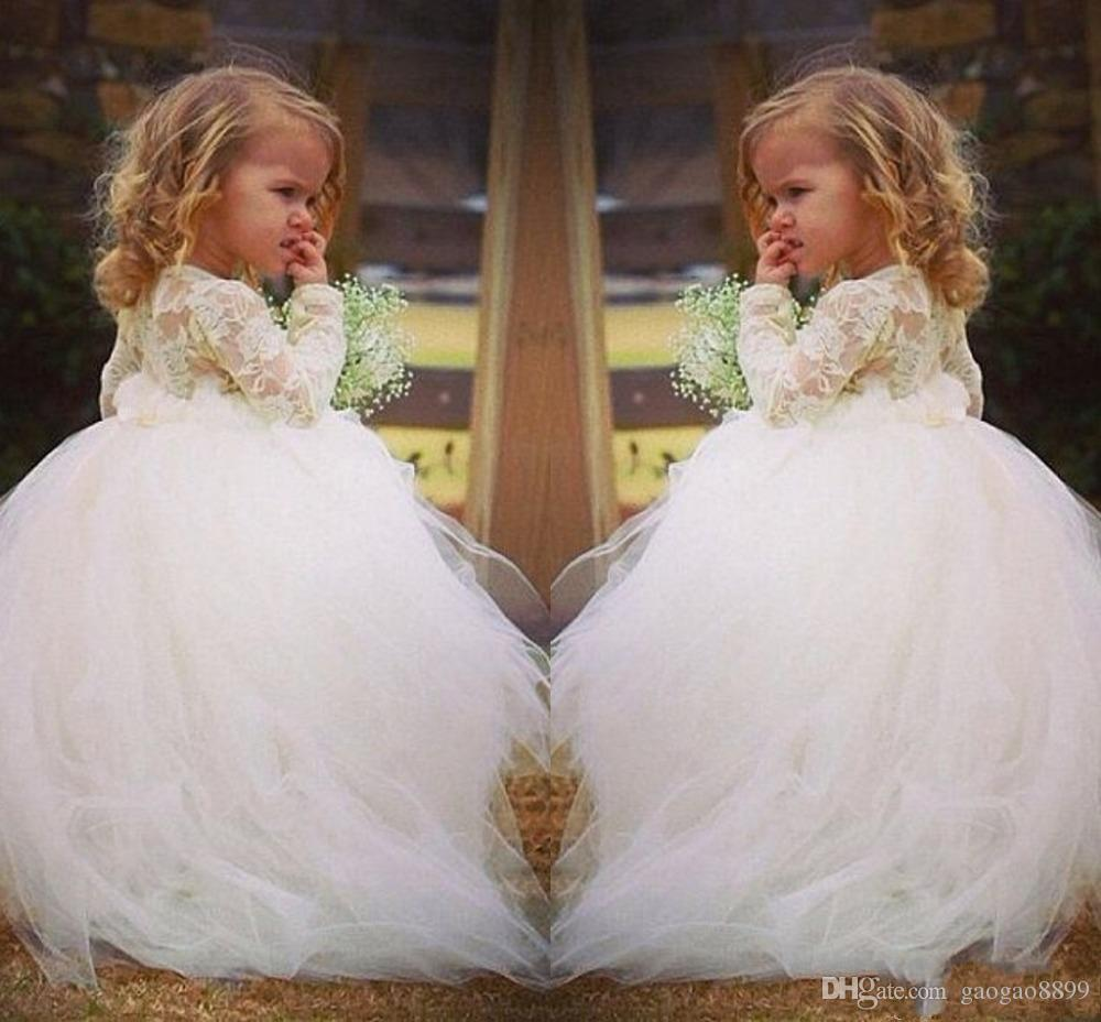 New Arrival Ball Gown Lace Flower Girls Dresses white Tutu Cheap jewel long Sleeve lace very Puffy Little Girls Kid First Communion Dresses