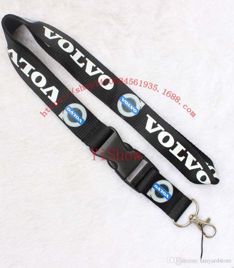 The charisma of a car VOLVO Lanyard Keychain Key Chain ID Badge cell phone holder Neck strap black.