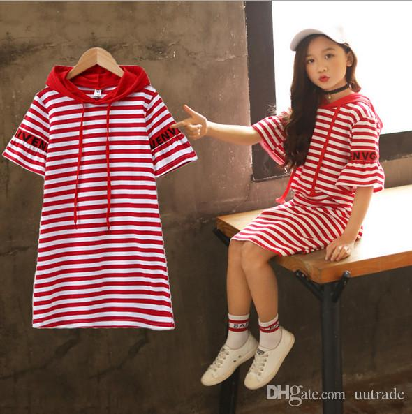 Kids girl short sleeve striped cotton long style T shirts tee shirt dress tops red/black for about 4-10yrs