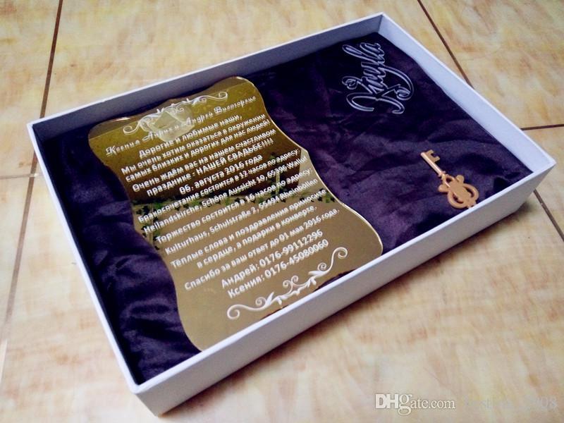 "2018 High Quality Acrylic gold customized wedding invitations,Gold acrylic invitations card(6.5""x4.5""xT1/12"")"
