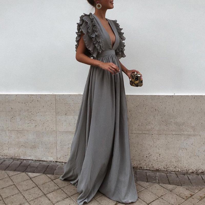 2018 새로운 패션 여성 드레스 섹시한 그레이 브이 넥 Backless 비행 짧은 소매 맥시 드레스 여름 솔리드 비치 파티 롱 드레스 D1891304