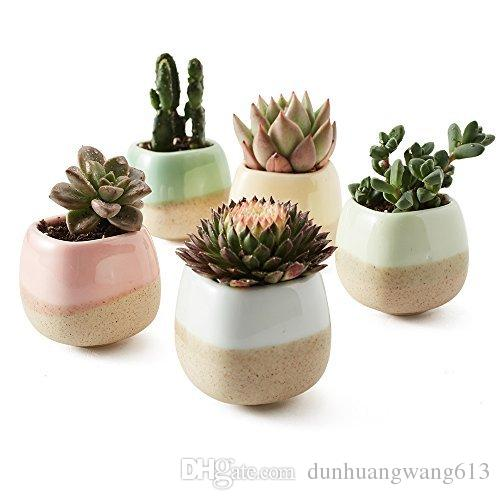 5 in Set 2,2 Zoll Container Pflanzer Keramik fließende Glasur Fünf Farbe Basis Serie Sukkulenten Topf Kaktus Blumentopf Blumentopf