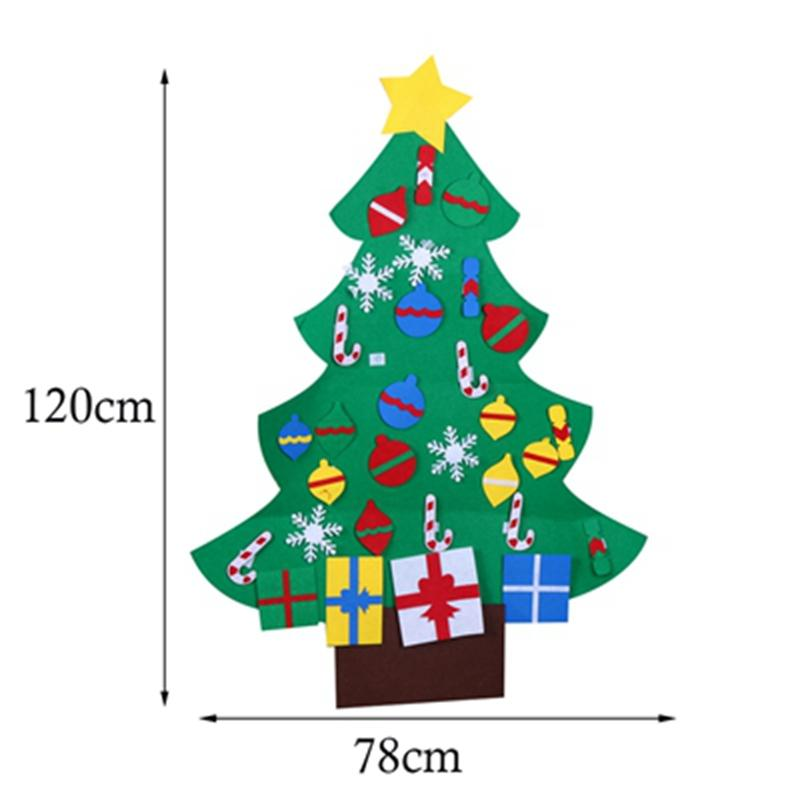 Candy Case Christmas Gifts for 2018 Kid DIY Felt Christmas Tree with Ornaments New Year Decoration Door Wall Hanging Decoration
