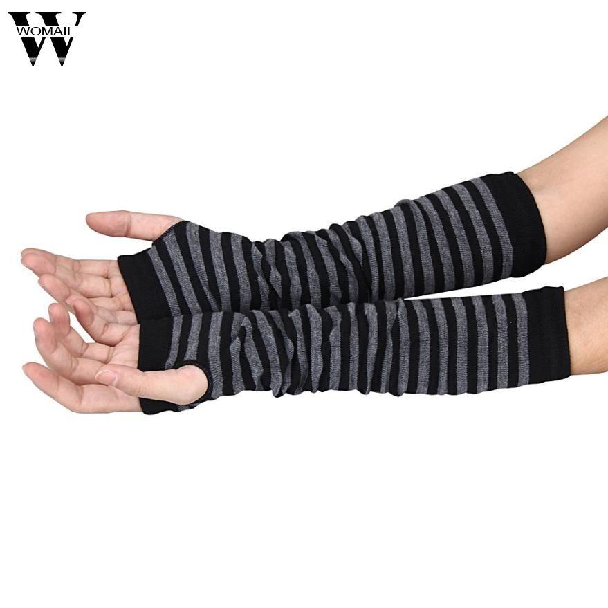 Amazing Women Ladies Knitted Elbow Length Winter Fingerless Gloves Stripe Mitten Christmas Gifts D18110806