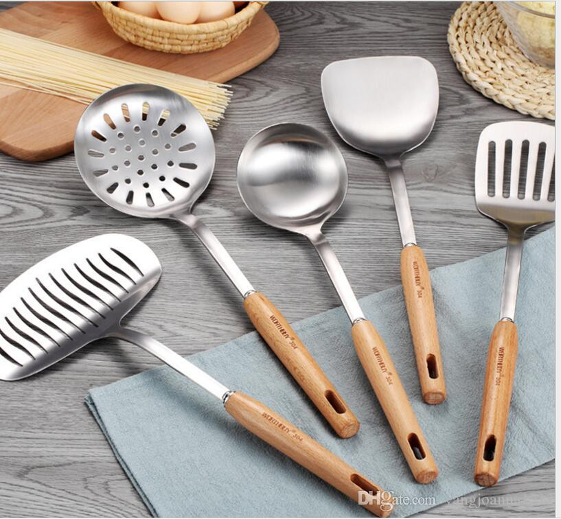 High Quality 304 Stainless Steel Kitchen Cooking Tools Set Non Slip Heat  Resistant Wooden Handle Utensil Set Kitchen Cookware Sets Green Cookware  Sets ...