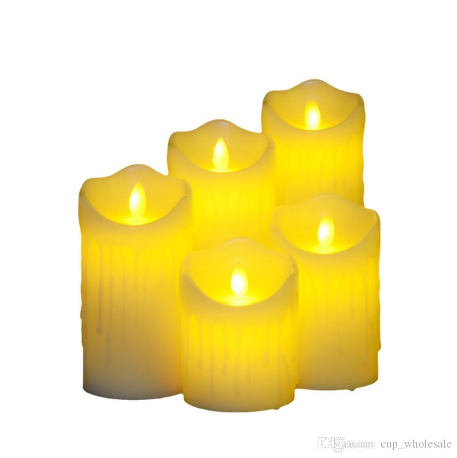 Flameless LED Tea Light Battery Operated Flickering Votive Candles for Halloween Christmas Festival Celebration Decor Electric Bulb Amber