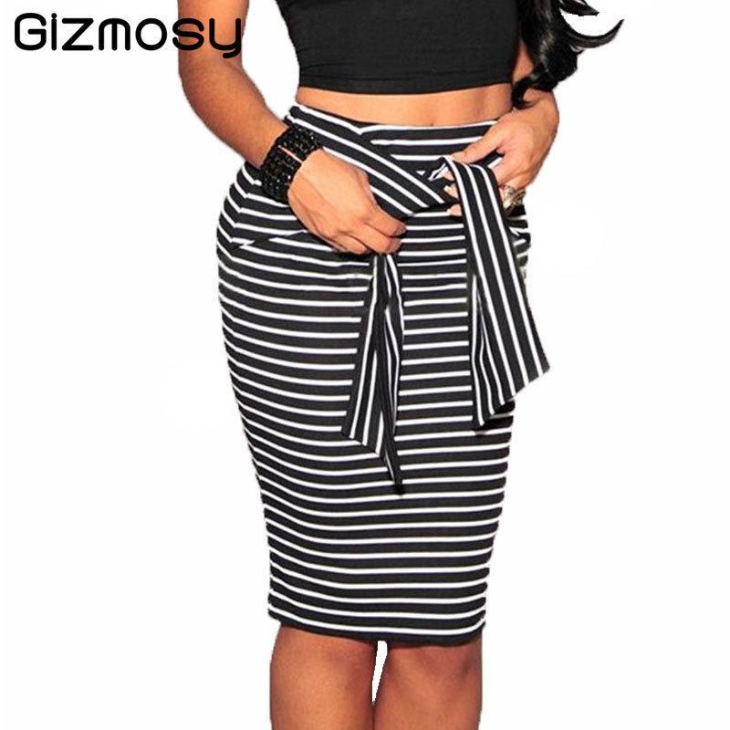 Ladies High waist stripe Pencil skirt