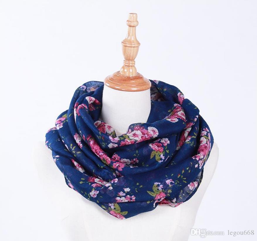Venta caliente Nueva Moda Cálida Mujeres Flor Loop Bufanda Femenina Pequeña Rose Print Anillo Bufandas Infinito Chal Abrigo GA373