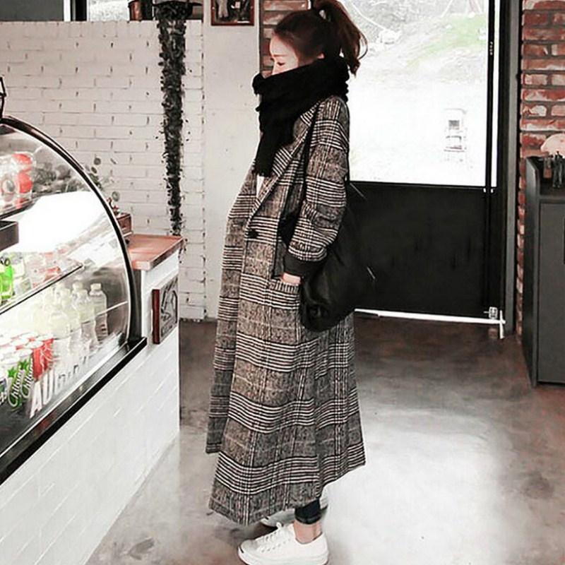 Women plaid long coat long sleeve woollen overcoat loose outwear female winter autumn trench coats plus size
