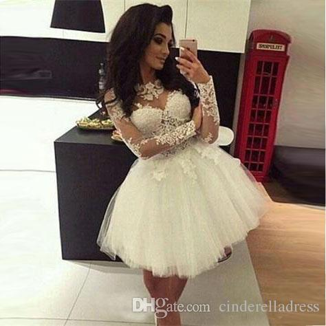 2020 White Ball Gown Homecoming Dresses Long Sleeves Sheer Neck Sweet 16 Dresses Pageant Prom Dresses Mini Short Graduation Dress