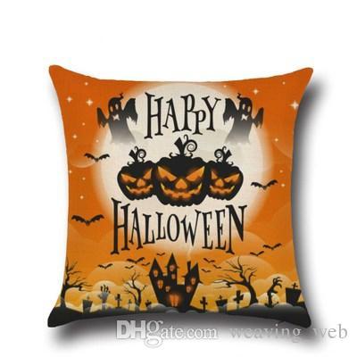 Abóbora travesseiro de Halloween travesseiro capa de almofada de volta para sofá decoração de casa decoração do dia das bruxas 45 * 45 cm