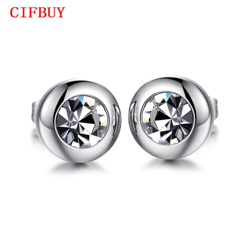 CIFBUY Vintage Round Design Studs Boucle d'oreille pour les femmes Hommes Mode Argent En Acier Inoxydable Cubic Zirconia Bijoux Boucle d'oreille Unisexe 281