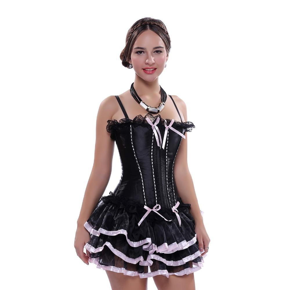 Women Black Corset Dress Sexy Lace up Boned Straps Overbust Corsets with tutu Skirt Plus Size Bustier Free Shipping