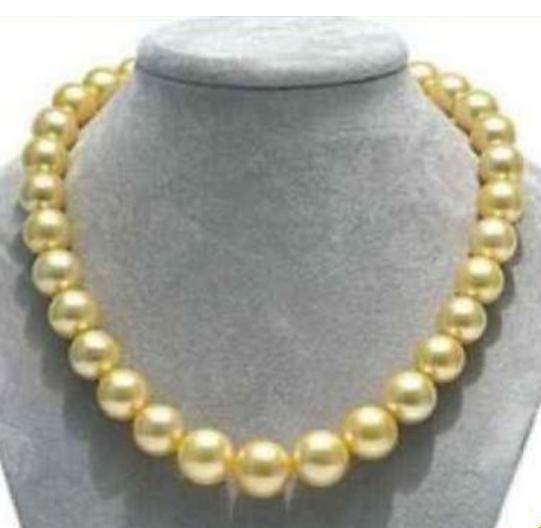 Chaming 10-11 мм Натуральное Южное Море Золотое Жемчужное Ожерелье 17 дюймов Ожерелье Из Бисера 14 К Золотая Застежка