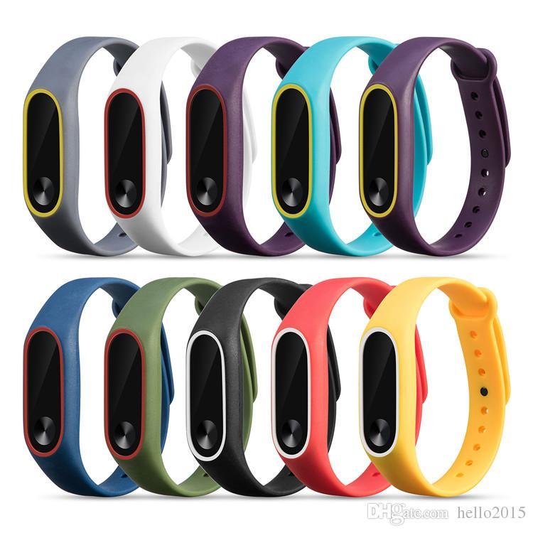 Çift renk mi band 2 aksesuarları pulseira miband xiaomi mi2 akıllı bilezik için 2 kayış değiştirme silikon bileklik