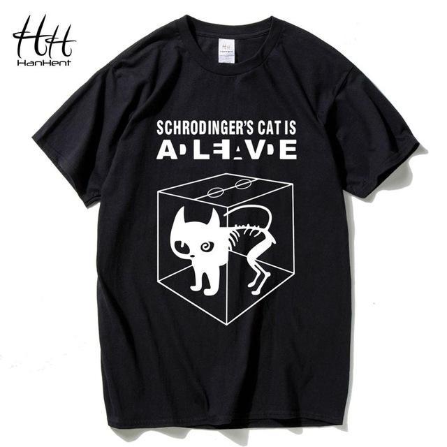 Baumwolle Herrenmode T-Shirts Schrödingers Katze The Big Bang Theory Baumwolle Kurzarm O-Ausschnitt Tops T-Shirts Sommer-T-Shirt