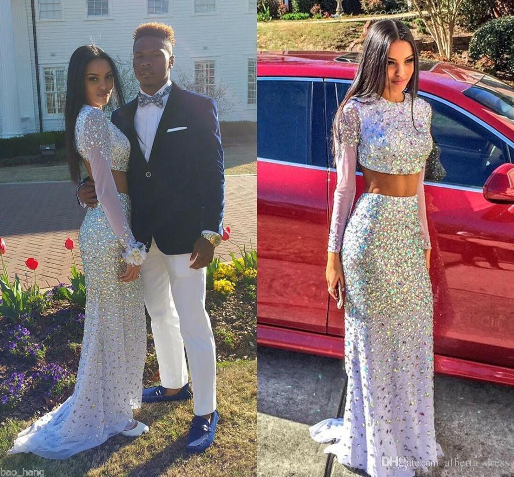 Sparking prom dresses Beaded Two Pieces 2K15 evening dresses Crew Neck Long Sleeve Mermaid Sweep Train Prom Gowns Custom Made