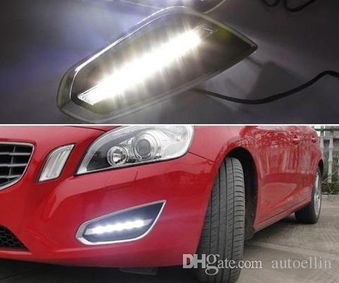 Frete grátis para Volvo S60 V60 2011 2012 2013, Light-Off Estilo Relé Waterproof Matte ABS Car DRL 12V LED Daytime Running luz Daylight