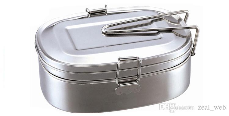 Caja de almuerzo de metal de acero inoxidable Contenedor de comida Caja de almuerzo ecológica de doble capa Apto para lavavajillas, sin BPA